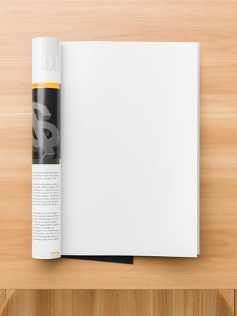 catalog mockup on a wooden table